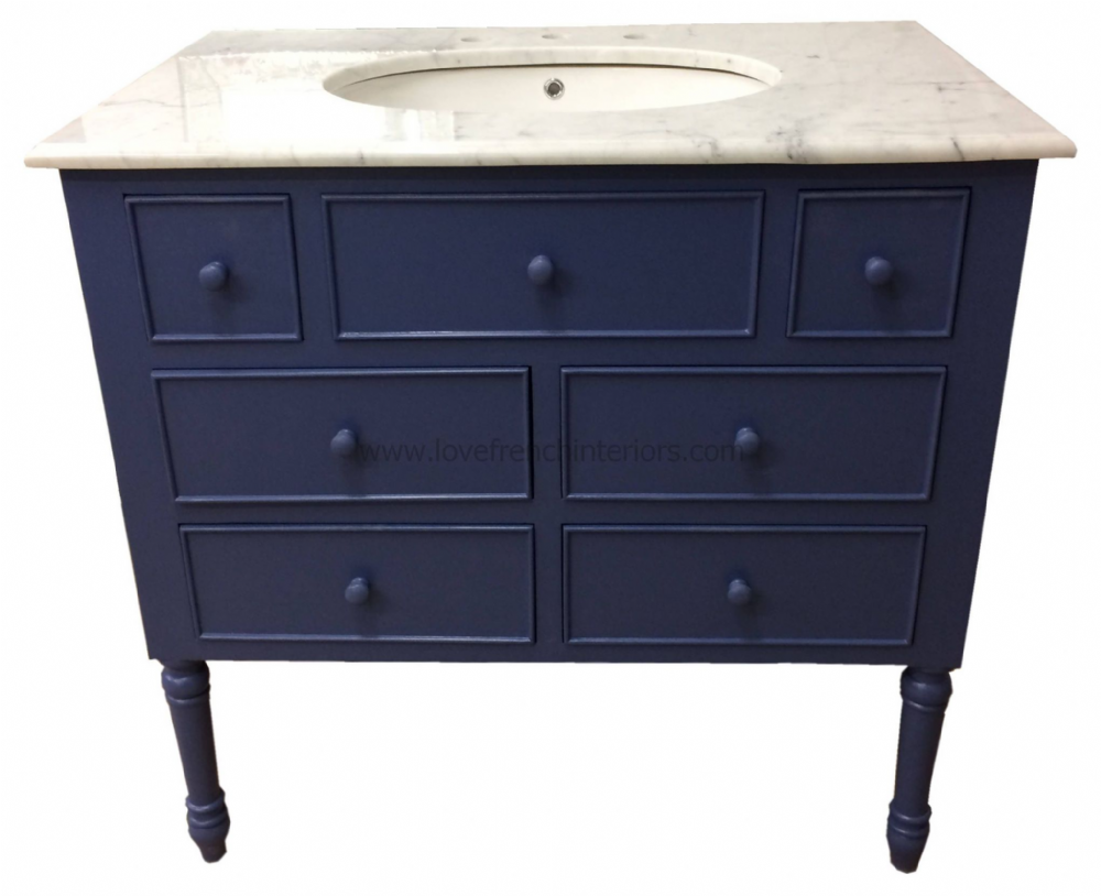 Bespoke 6 Drawer Sink Vanity Unit with Solid Marble Top